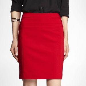 Express Red Natural Waist Pencil Stretch Skirt